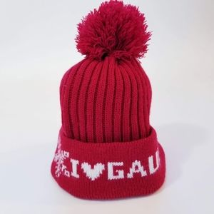 Jean Paul Gaultier Red Pom Pom Beanie Hat
